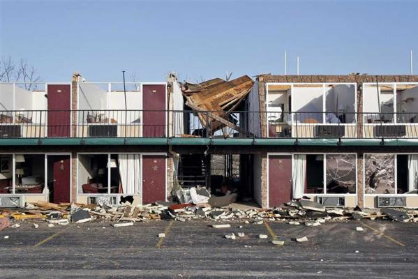 A storm damaged hotel is seen on the Strip in Branson, Missouri.