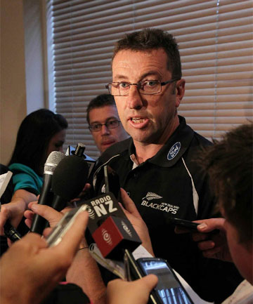 Blackcaps manager Mike Sandle speaks to media at this morning after an alcohol incident involving Jesse Ryder and Doug Bracewell.