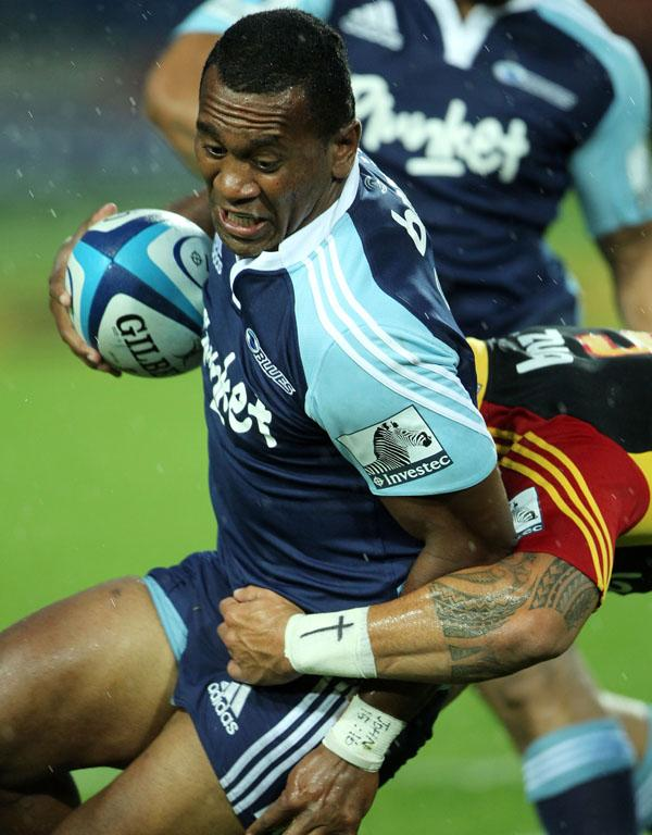 The Blues' David Raikuna is tackled during their second round loss against the Chiefs.