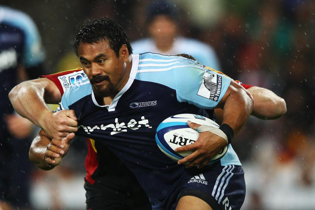 Isaia Toeava of the Blues makes a break during the round two Super Rugby match between the Chiefs and the Blues.