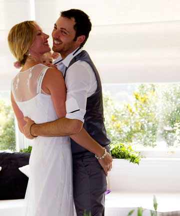 SURPRISED BRIDE: Newlyweds Lynore and Greg Daniels were married during a storm in a rapid-fire proposal and wedding which took the bride  completely by surprise.