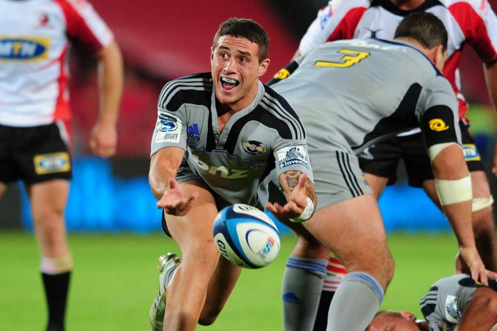 Hurricanes halfback TJ Perenara clears the ball from the base of the ruck.