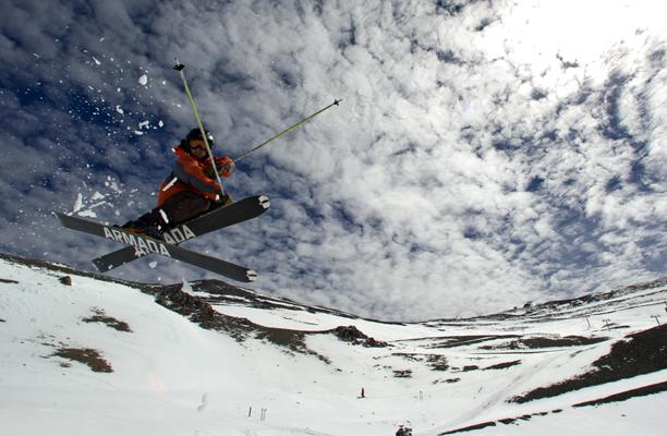 Skier Jason Collins airs in triple bowl at Mt Hutt.