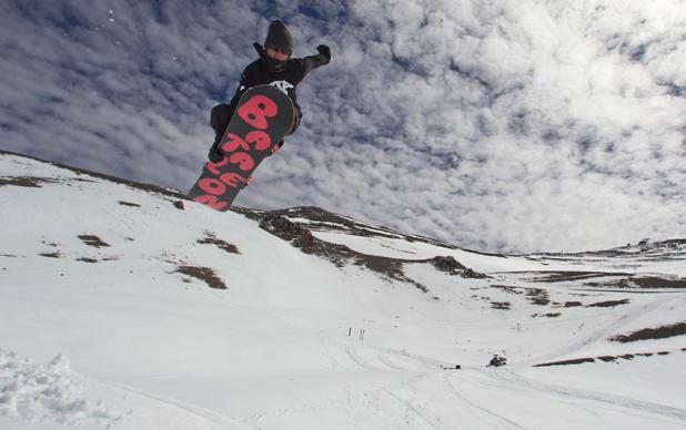 Methven local Ryan Grice does an indy nosebone in triple bowl at Mt Hutt.