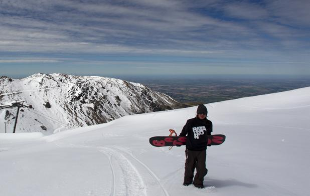 Methven local Ryan Grice hikes to get some turns at Mt Hutt.