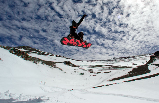SNOW ADDICT: Ryan Grice enjoys early Autumn snow at Mt Hutt yesterday.