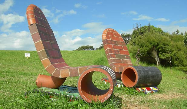 SITTING SCULPTURE: Comfort Stops by ceramicist Peter Lange will be a new addition to Alison Park this year.