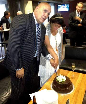 COALITION DEAL: The marriage of long-time couple Ngaire Brown and  Tau Henare at Parliament on Wednesday.