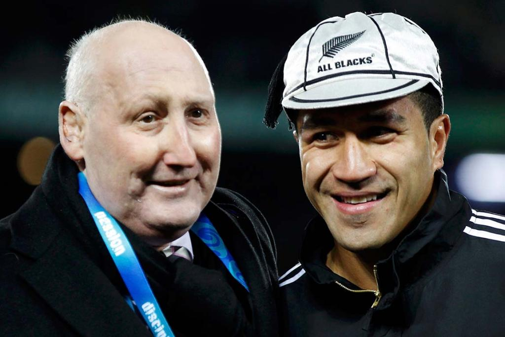 Jock Hobbs with Mils Muliaina, celebrating Muliaina's 100th test cap during the 2011 Rugby World Cup at Eden Park.
