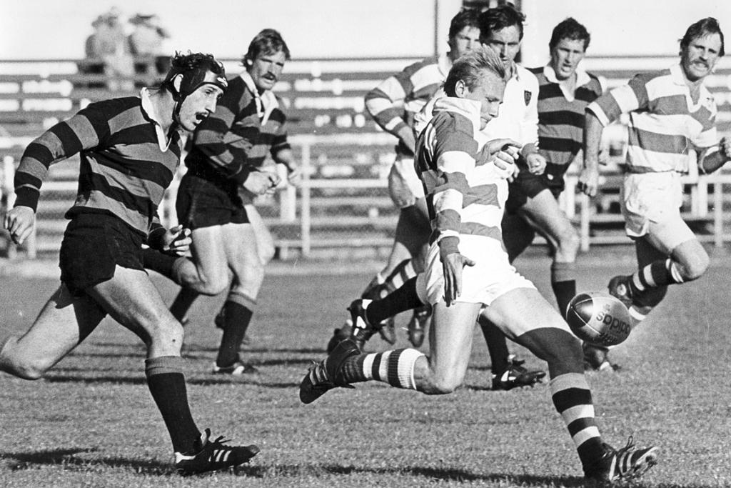 Jock Hobbs, left, has Marist player Phil Gibson in his sights during a Canterbury club match in April 1985.