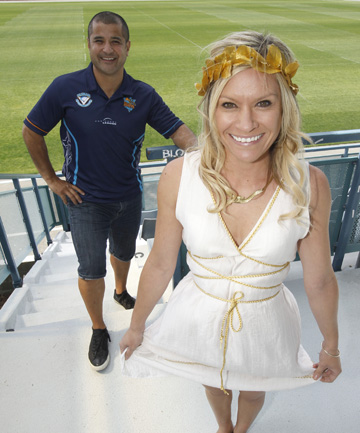 GET THE GEAR ON: Tasman Rugby League chairman Paul Lafotanoa and Sharron Wetere of the ProRugby League Group remind fans to dress up for this weekend's tournament at Trafalgar Park.