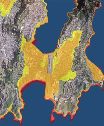 RED ALERT: Wellington tsunami zones. The red zone is the highest risk area, but orange and yellow zones would also need to evacuate.