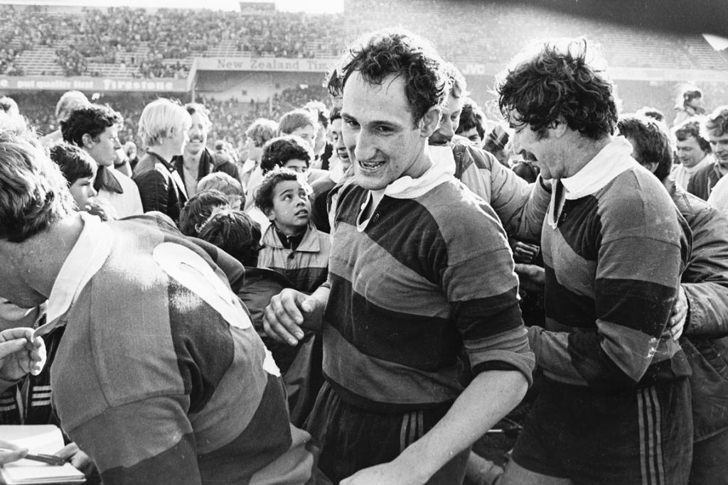 Jock Hobbs is all smiles after winning the Ranfurly Shield for Canterbury off Wellington at Athletic Park on September 18, 1982.