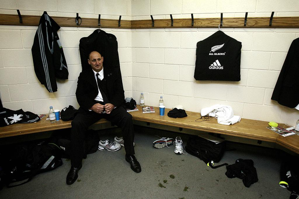 Jock Hobbs in the dressing room after the All Blacks defeated England 19-6 at Twickenham in 2009. Two years later he helped secure the hosting rights to the 2011 World Cup.