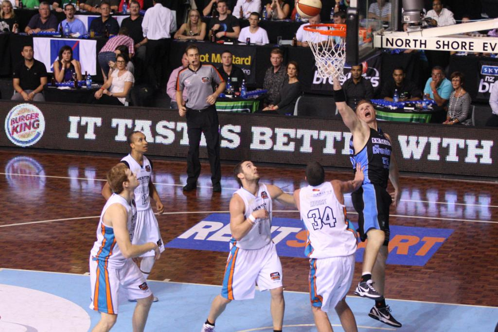 Breakers centre Gary Wilkinson scores against Gold Coast Blaze.