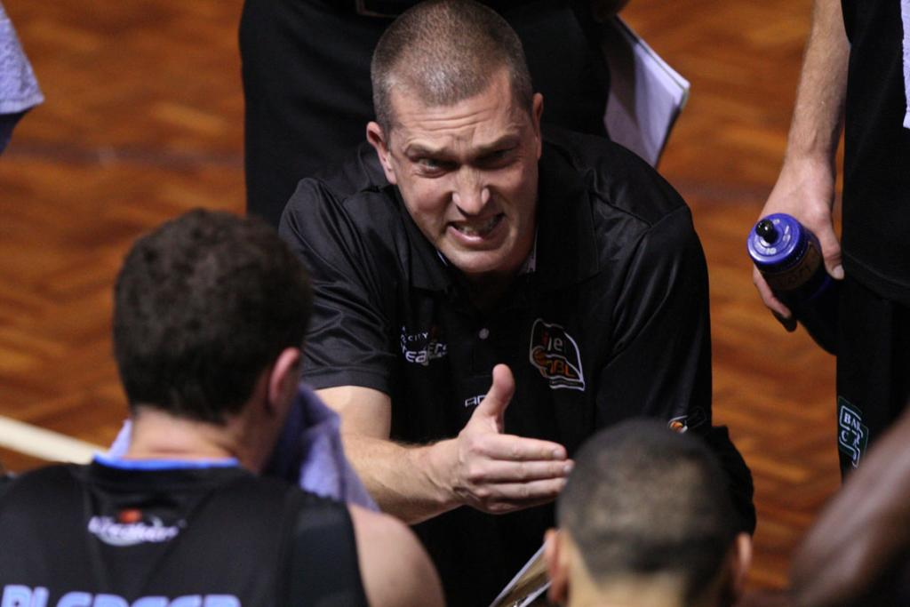Breakers coach Andrej Lemanis during the match against Gold Coast Blaze.