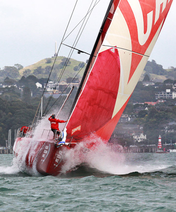 IMPROVED SHOWING: Team NZ's Camper leads into the first mark yesterday.