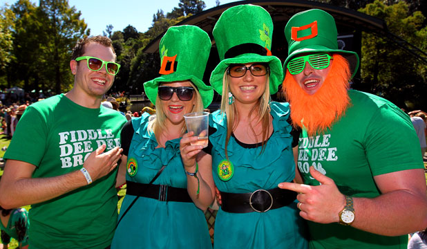 IRISH EYES: Simon Betton, Nicole Eichstaedt, Hayley Little and Ross Little get into the spirit of St Patrick's Day at Womad on Saturday.
