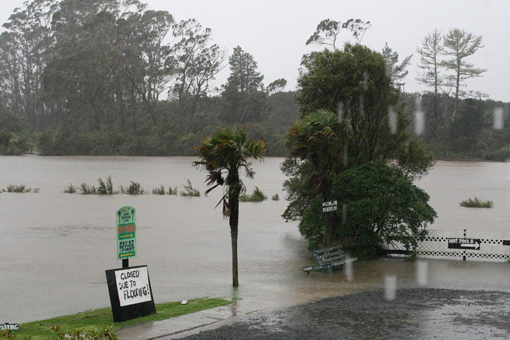 Rawiri Taiwhanga Park at the entrance to Kaikohe township on SH12 is underwater.