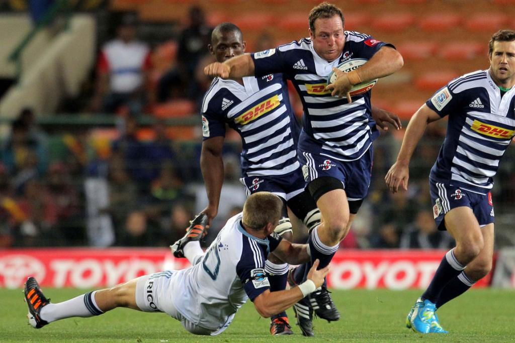 Stormers hooker Tiaan Liebenberg charges the Blues' defence.