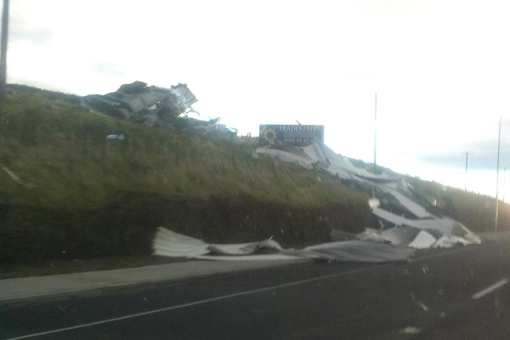 High winds bring down roofing iron near Bell Block in Taranaki.
