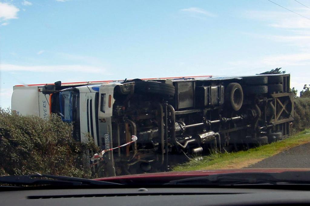 A truck blown off the road just north of Oakura, Taranaki.