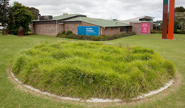 KEEP OFF: Richard Orjis's grass art sculpture outside Te Tuhi Centre for the Arts.