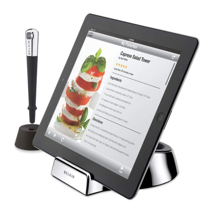 Spilling tomato sauce on a cookbook is bad enough, but it can mean real disaster if you give an iPad the same treatment. Enter the Belkin Chef Stand and Stylus ($52.95 from www.rubbermonkey.co.nz), the gadget you never knew you needed until now. The stand holds the tablet at the perfect angle for cooking while the stylus means you don't spread greasy fingers on the screen. Genius.