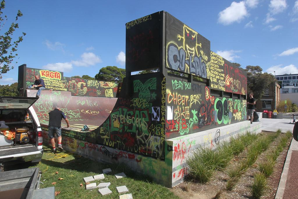 They newly-opened Victoria Park skate park was vandalised with graffiti.