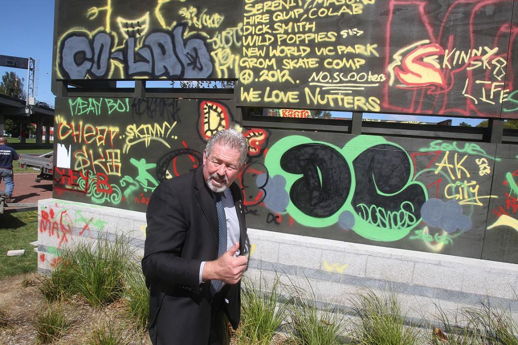 Greg Moyle, a Waitemata local board member, at the Victoria Park skate park which was vandalised with graffiti.