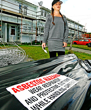 HAZARDOUS: Trina Haywood, whose pregnant daughter, Laura, rents in Gear Tce, Porirua  East, where asbestos is being removed from roofs.