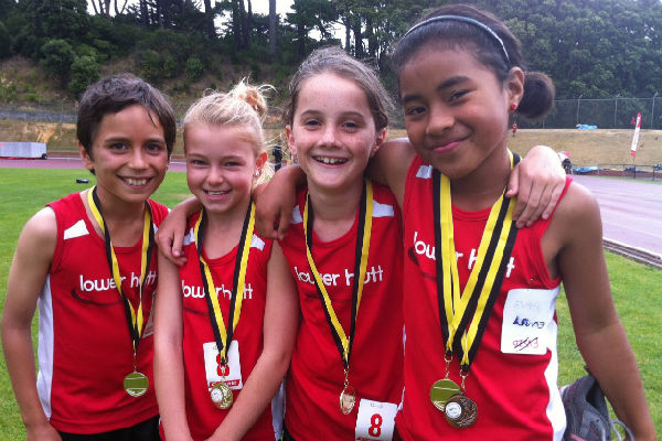 Winners are grinners: Gold medal winners in the 8 girls 4 x 100m relay Max Hahn, Charlotte Dickens, Sarah Tustin, Tema Rayasi.