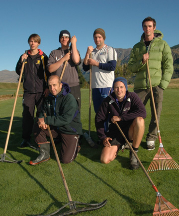 Gary Smith with his Turf Management students at The Hills (back row, from left) Caleb Ladbrook, Duncan Rhind, Justin Rawcliffe, Matt Honeybone,  (front row, from left) Gary Smith and Kayne Wardell.