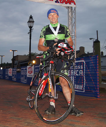 MR ENDURANCE: Kiwi Ron Skelton at the finish line of last year's Race Across America cycling race.