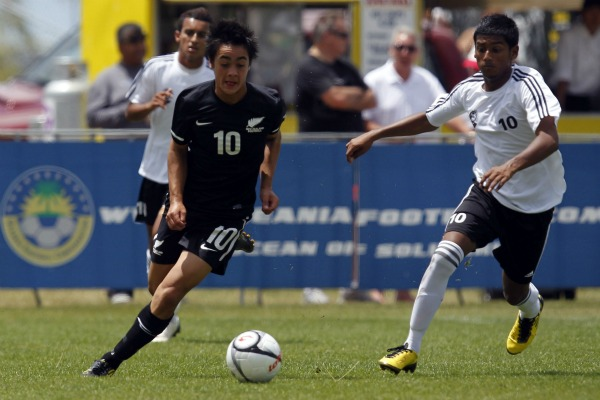 Cameron Howieson, centre left, in a game against Tahiti in the 2011 Oceania Under 17 championship final in North Harbour.