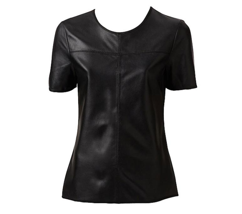Witchery leather T-shirt, $250. You'd be surprised at how wearable a leather T-shirt can be. Once reserved for bikers, the leather T-shirt can be smart and really classy.
