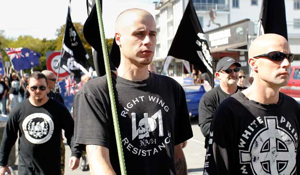 WHITE IS RIGHT: Right Wing Resistance members and supporters march in Christchurch