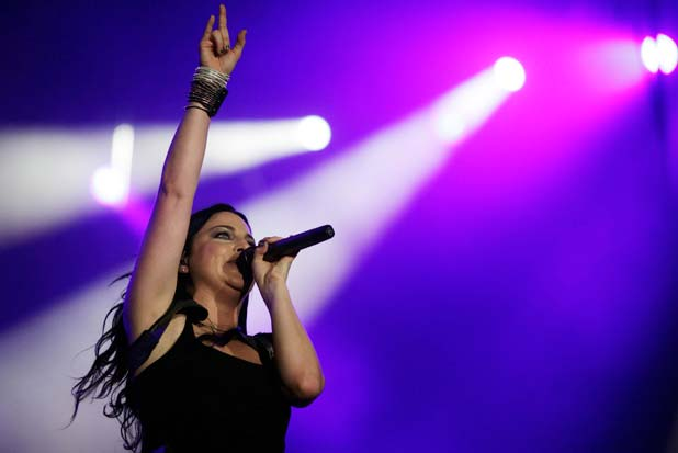 GOING UNDER: Evanescence singer Amy Lee performs in Brazil last year.