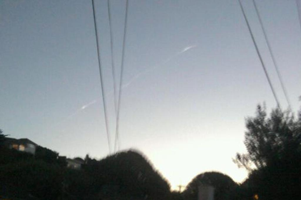 The trail left by the meteor in the sky above Wellington.