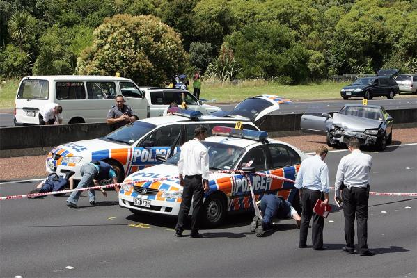 The scene on the Northwestern Motorway after a police chase which ended with Halatau Naitoko being shot dead by police.