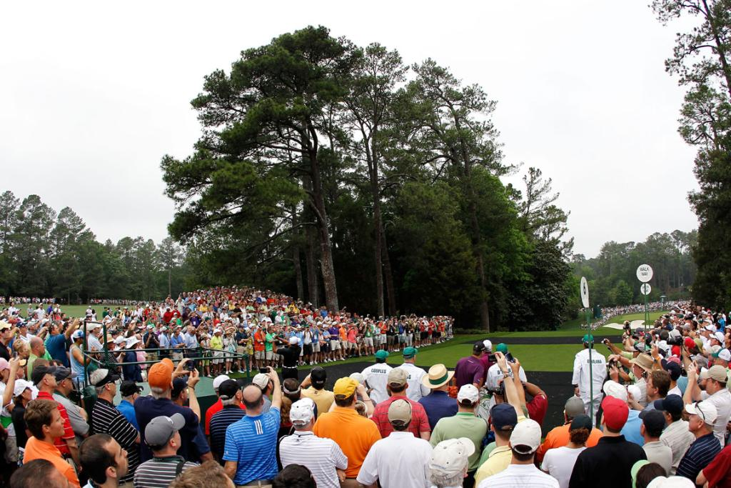 Big crowds gathered to watch players go through their paces in the practice round prior to the start of the Masters at Augusta National.