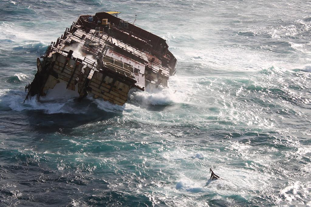 The bow of the grounded container ship Rena is all that is left. The stern sank on April 4, the eve of the six-month anniversary of the grounding.