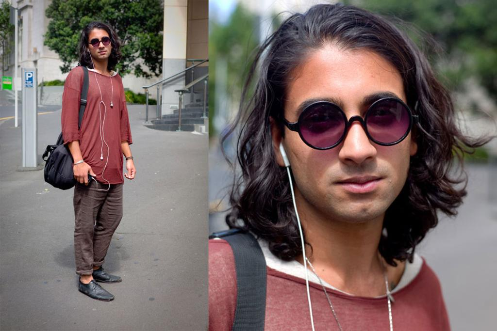 Kyle on O'Connell St, Auckland, in Chronicles of Never top, Commoners Alike Pants, and Nick Von K necklace.