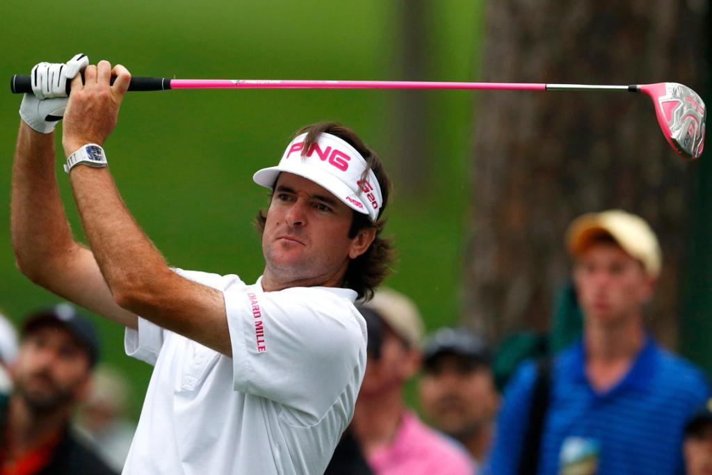 American Bubba Watson swings his pink club on the 17th hole tee.