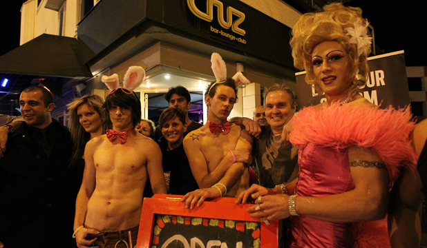 BUSY BAR: Cruz gay bar in Victoria St with Mohamad (bouncer), left, Mark (the Easter bunny), Alistar (the Easter bunny), Bruce Williamson (owner) and Felesha (otherwise known as Lance).