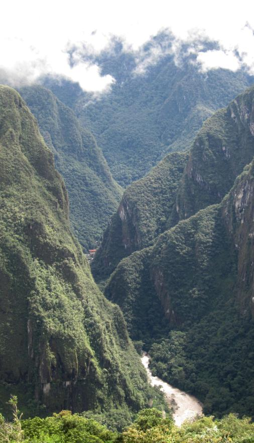 MAJESTIC SIGHT: Machu Picchu is set high above the Urubamba River. The red roof in the middle distance is the town of Aguas Calientes, where most of the hotels and other tourist services are located.