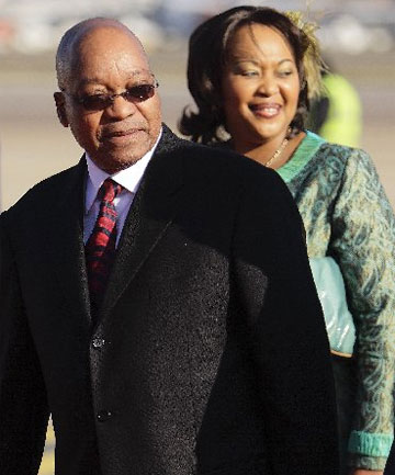 SMILES ALL ROUND: Jacob Zuma with one of his wives, Thobeka Madiba Zuma.
