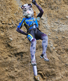 FURRY FUN:  FurcoNZ organiser Joe supplied this photo of himself abseiling at the 2009 FurcoNZ event.