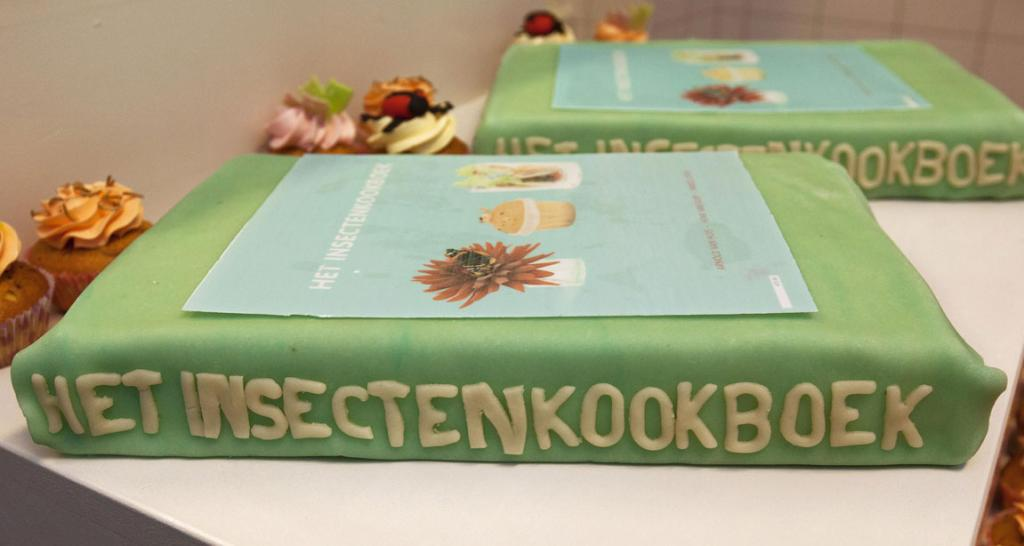 A cake filled with edible insects in the shape of the cookbook, The Insect Cookbook, is displayed at the University of Wageningen.
