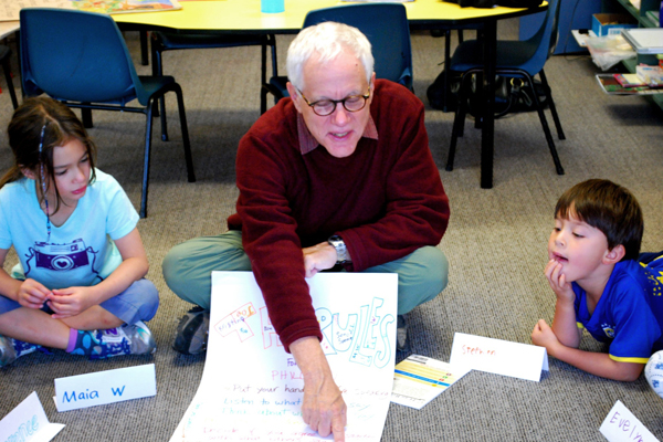 Professor Tom Wartenberg guides Maia Wilkinson, 7, and Stephen Eng, 6, through some of life's thorny questions.